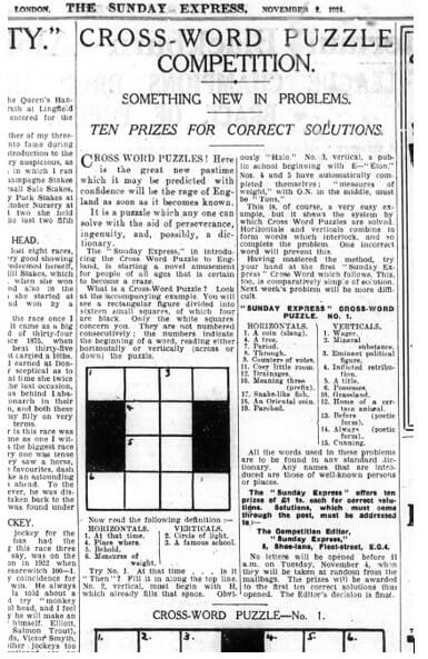 Crossword puzzle from 1924